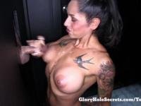 Gloryhole Secrets Treu gives 6 strangers handjobs and lets them cum all over her fit body