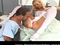 Hot blonde nurse fucks her patient
