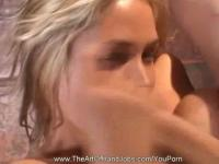 Blonde Handjob-Blowjob Crazy Face!