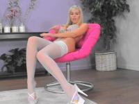 Blonde teen posing in white Stocking
