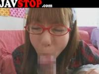 Japanese girl blowjob facial glasses
