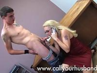 Monica Talks To Her Husband On The Phone While Sucking His Friends Cock