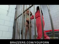 Busty lesbian prisoner makes new in-mate to fuck her pussy & ass