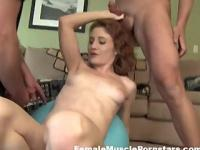 Redhead Gets Her Abs Covered in Cum