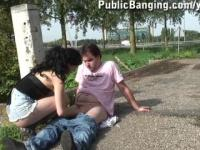 YOUNG girl fucked in PUBLIC by busy freeway PART 1