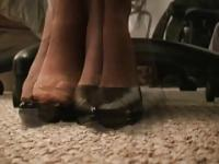 Pantyhose Feet Under Desk