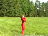 Big breasted Jana outdoor in red spandex