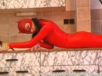 Red Rubbercat in high heels