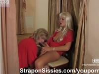 Strapon sex with a sissy-maid